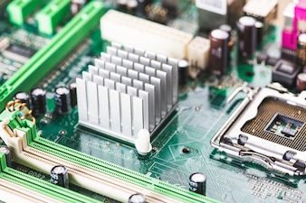 Close-up of heatsink and cpu socket on computer motherboard