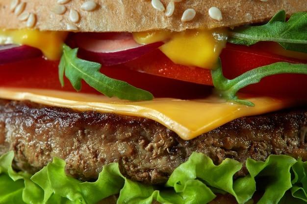 집의 클로즈업 만든 맛있는 햄버거