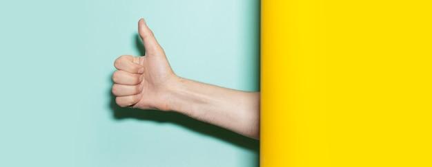 두 배경 노란색과 아쿠아 menthe 색상에 제스처를 엄지 손가락을 보여주는 남성 손 클로즈업.