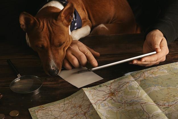 タブレットを持って男の手のクローズアップと指でスライドし、好奇心旺盛なバセンジー犬がテーブルの上に足でそれを見ている間、老朽化した木製のテーブルで冒険ルートを計画します