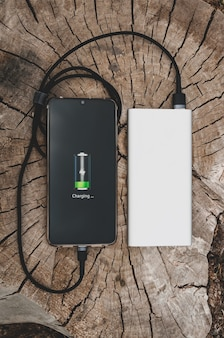 古い切り株の現代技術の概念のポータブルパワーバンクからの現代のスマートフォンの充電のクローズアップ