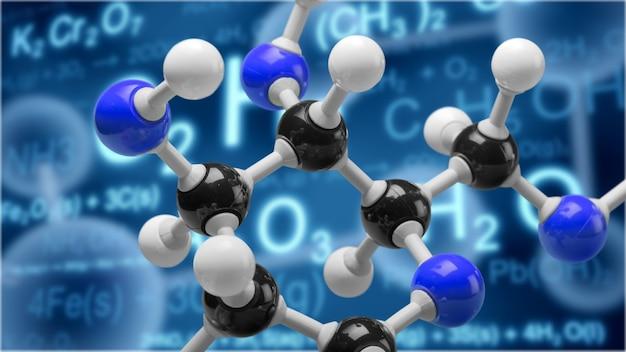 Крупным планом модели молекулярной структуры на фоне