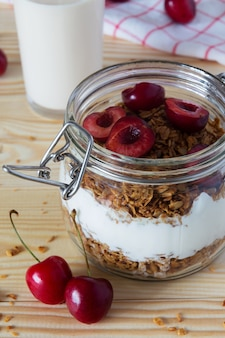 Close up of muesli and yoghurt with cherries and a glass of milk