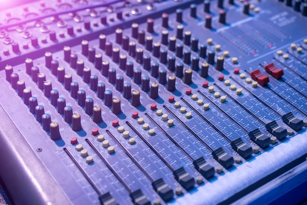 음악 믹서의 클로즈업