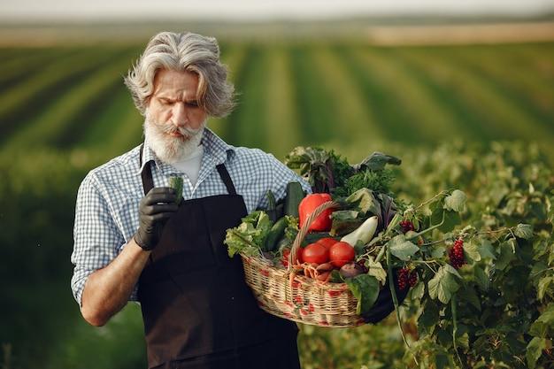 野菜のバスケットを持って古い農家のクローズアップ。その男は庭に立っています。黒いエプロンのシニア。