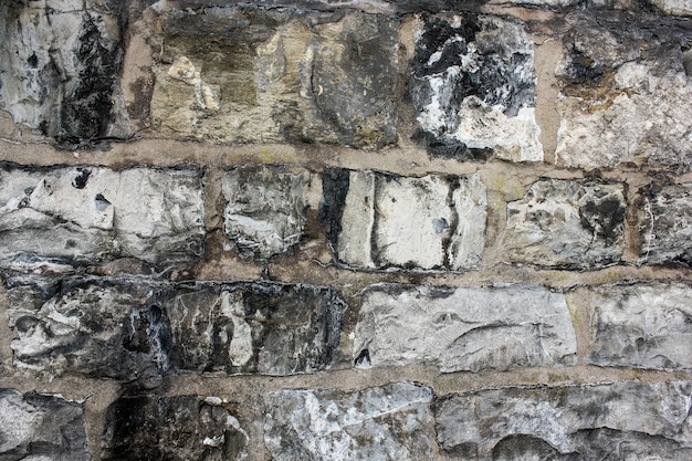 黒の汚れで古い灰色の不規則なレンガの壁のクローズアップ。自然な汚れた石の壁の質感