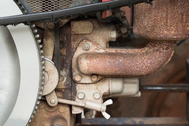 クローズアップ、古い、トラクター、エンジン