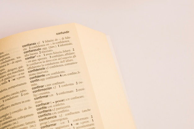 辞書のページのクローズアップ