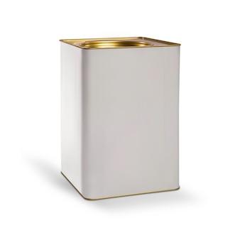 закройте вверх контейнера краски на белой предпосылке. 18 литров.