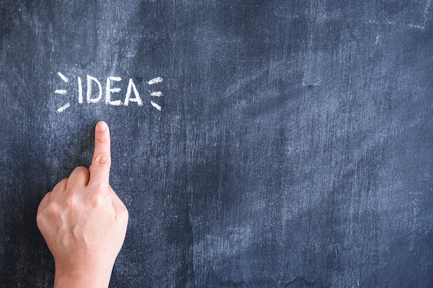 チョーク、チョーク、黒板上に書かれたアイデアテキストに指を指す人のクローズアップ 無料写真