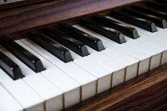 Close up of piano keyboard in side view