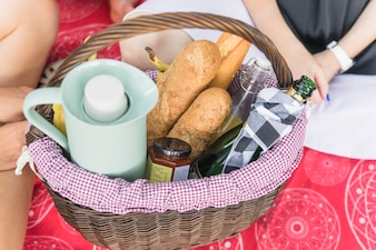 Close-up of picnic basket