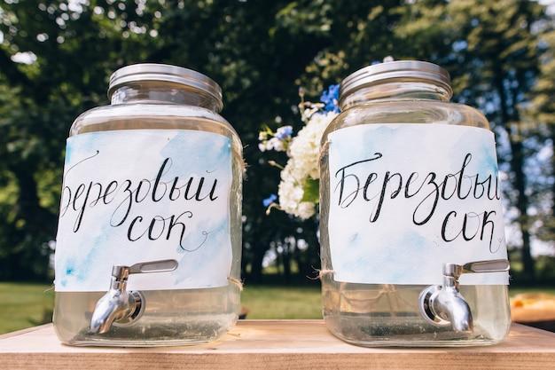 大きなピッチャーと氷のように冷たいピンクのレモネードと新鮮なレモン、ピンクの渦巻きストロー、スプーンで満たされたガラスのボトルとピンクのギンガムチェックのテーブルクロスでサインオンパークドリンクテーブルでのピクニックパーティーのクローズアップ