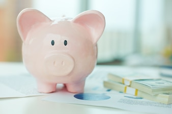 Close-up of piggy bank and banknotes