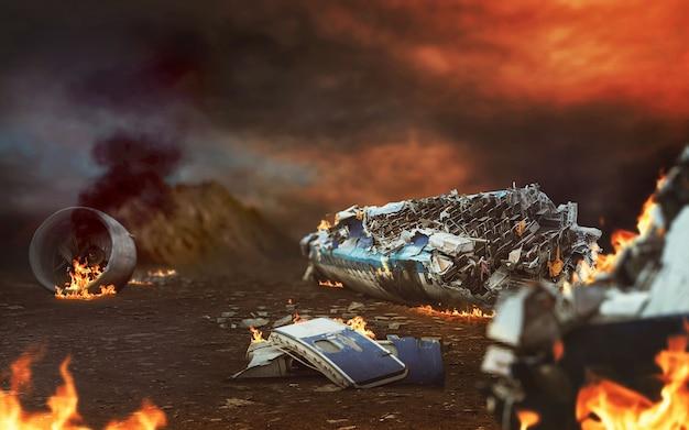 砂漠の飛行機の廃墟のクローズアップ