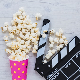 Close-up of popcorn and scene cutter