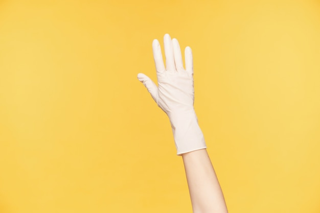 오렌지 배경 위에 포즈 흰색 고무 장갑에 제기 손의 클로즈업, 모든 손가락을 별도로 유지. 집의 봄 청소 준비