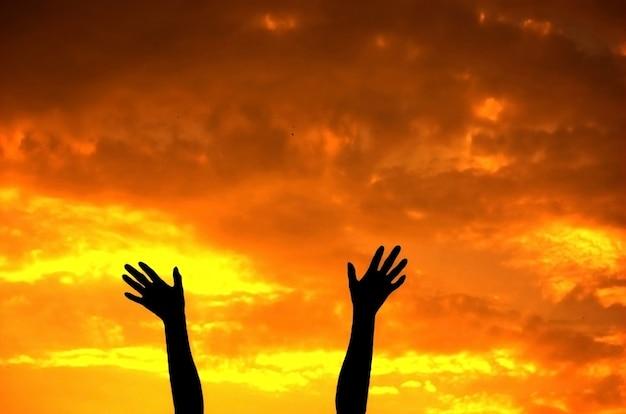 挙手のクローズアップ