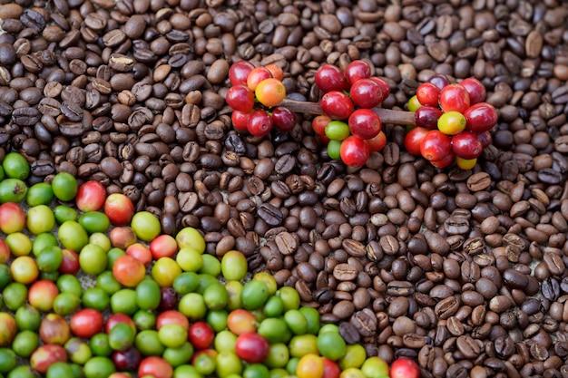 Крупный план жареных кофейных зерен и сырых кофейных зерен вместе