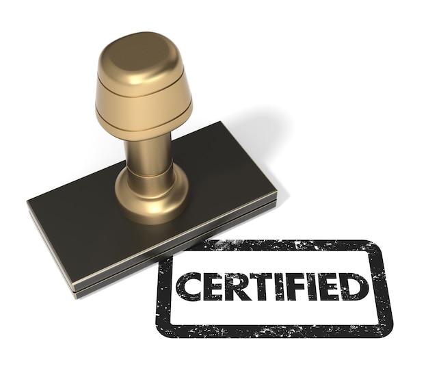 Закройте резиновый штамп, сертифицированный на изолированном белом фоне.