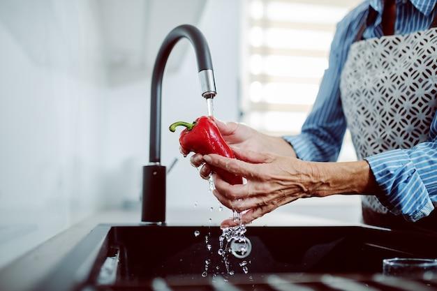 台所の流しで赤唐辛子を洗うエプロンで年配の女性のクローズアップ