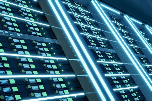 짙은 파란색 테마의 밝은 광선으로 서버 컴퓨터 랙을 닫습니다. 3d 일러스트레이션 렌더링입니다.