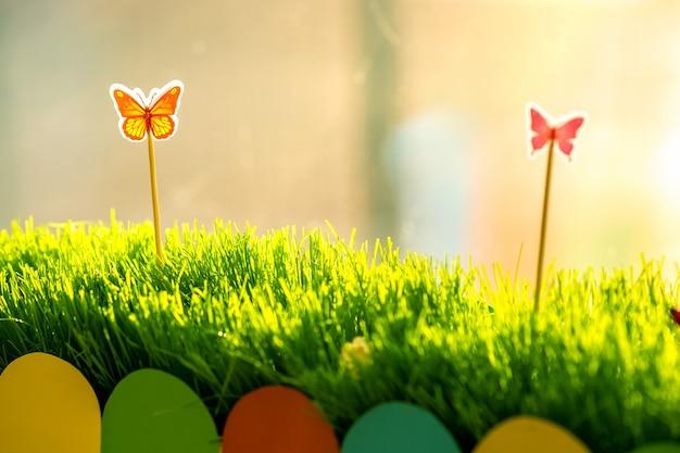 특별한 귀여운 장난감 작은 나비와 함께 작은 푸른 잔디의 닫습니다. 장식이 있는 아름다운 식물의 개념.