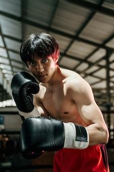 권투 케이지에서 장갑에서 싸우는 스포츠맨 무에타이 권투 선수의 닫습니다