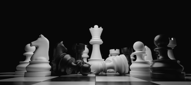 중앙에 서 흰색 여왕과 누적 된 체스 조각의 근접. 3d 렌더링