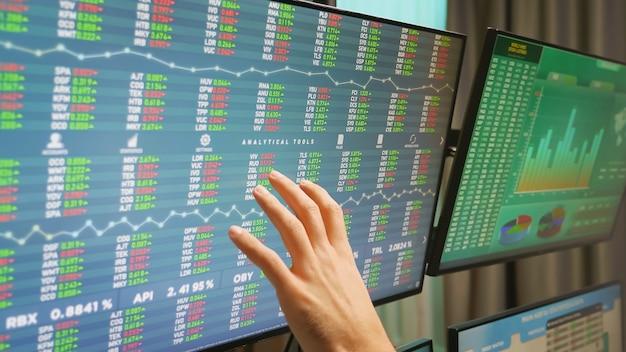 財務グラフ付きのモニターで株式市場のトレーダーの手のクローズアップ。