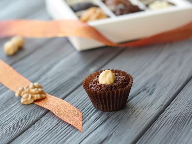 おいしいチョコレートのお菓子のクローズアップ