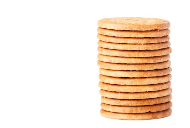 맛있는 쿠키의 클로즈업 쌓아