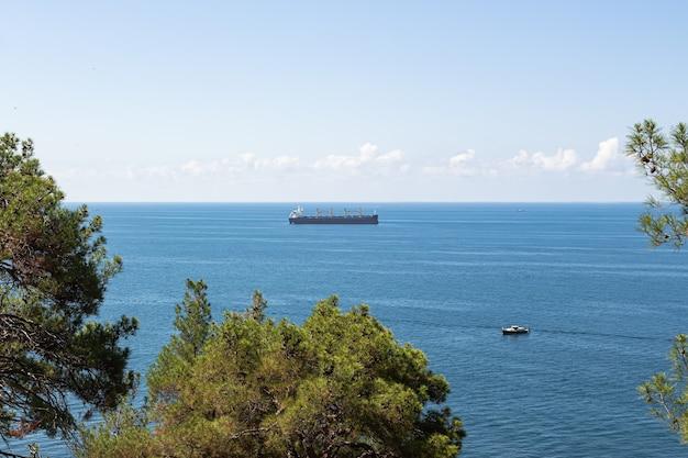 海景のクローズアップ。青い海、地平線上の雲、貨物船。手前には緑の木々のてっぺんがあります。ゲレンジークのリゾート周辺。ロシア、黒海沿岸