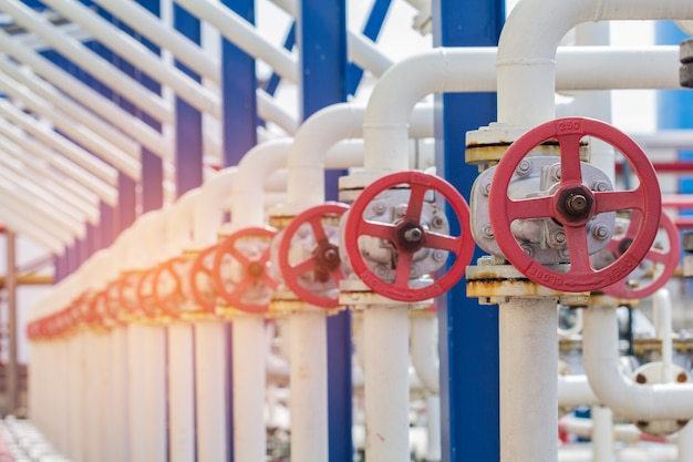화창한 여름날 들판에 있는 송유관을 막는 밸브의 클로즈업