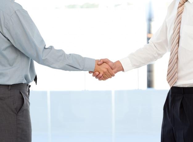 Закройте двух бизнесменов, заключая сделку, пожимая им руки