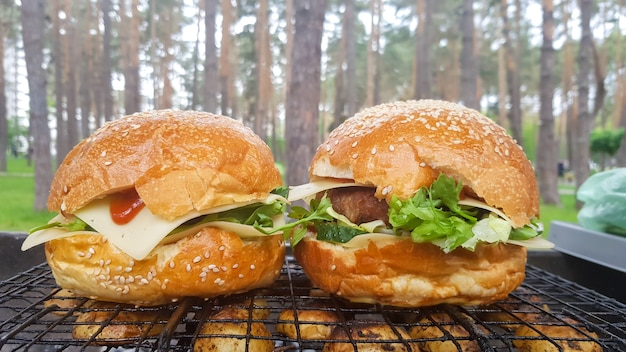 공원에 있는 두 개의 대형 diy 햄버거를 바비큐로 클로즈업하고, 여름에 피크닉에서 휴식과 요리, 음식, 맛있고 밝은 색상. 건강에 해로운 음식 개념입니다. 패스트 푸드.