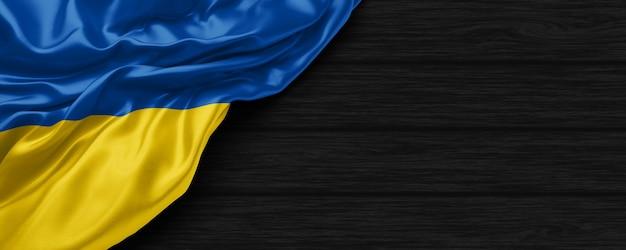 Крупным планом флаг соединенных штатов украины на черном деревянном фоне 3d визуализации