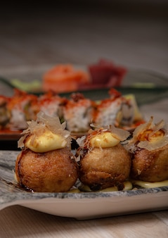 様々な日本料理のクローズアップ
