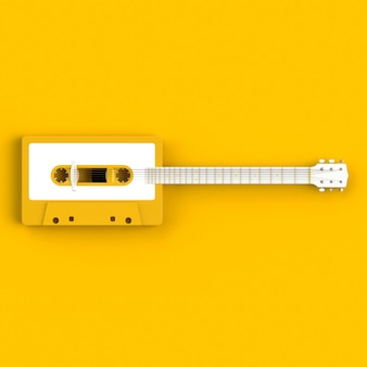アコースティックギターの概念図とビンテージオーディオテープカセットのクローズアップ