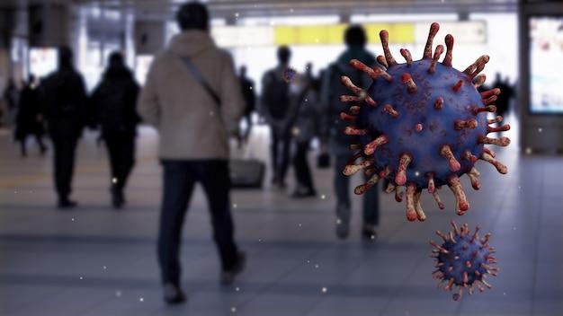공중에 떠있는 바이러스 covid19의 클로즈업
