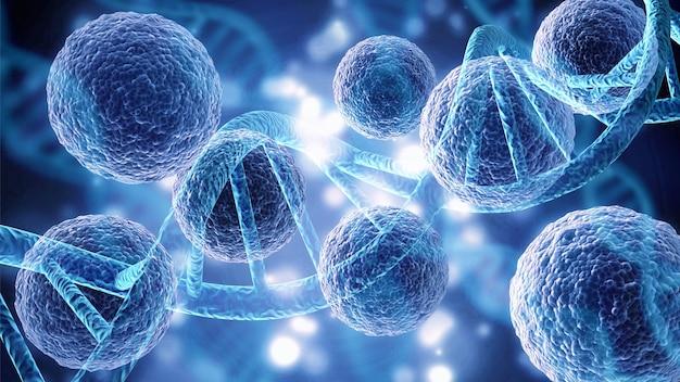 바이러스 또는 박테리아 세포의 클로즈업
