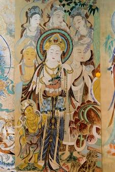 Крупный план настенной росписи, дуньхуан, цзюцюань, провинция ганьсу, китай