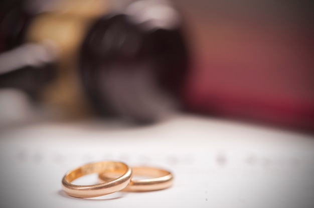 결혼 반지의 클로즈업