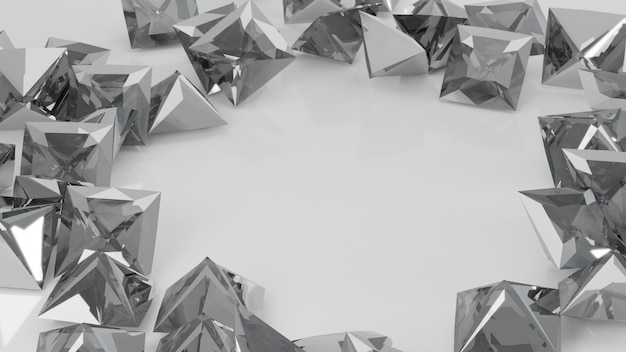 Крупным планом белой принцессы огранки алмаза на белом фоне