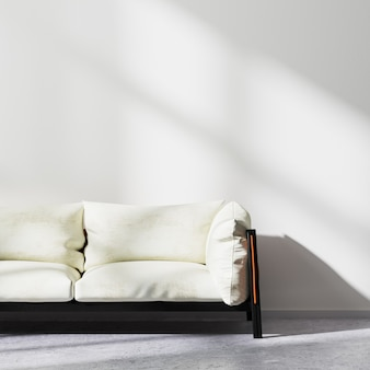 흰색 벽과 콘크리트 바닥, 현대적인 인테리어 배경, 3d 렌더링이 있는 흰색 소파 클로즈업