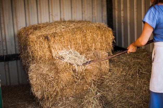 Крупным планом женщина, собирающая сено с вилами