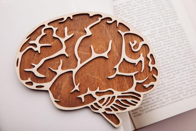 本の上に横たわる脳の木製モデルのクローズアップ。