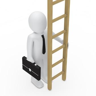 Крупным планом работника проведение лестницы
