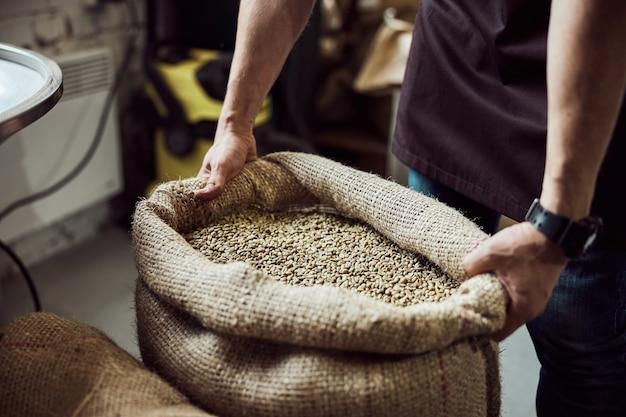 未焙煎のアラビカコーヒー豆と黄麻布の袋を保持している若い男の手のクローズアップ