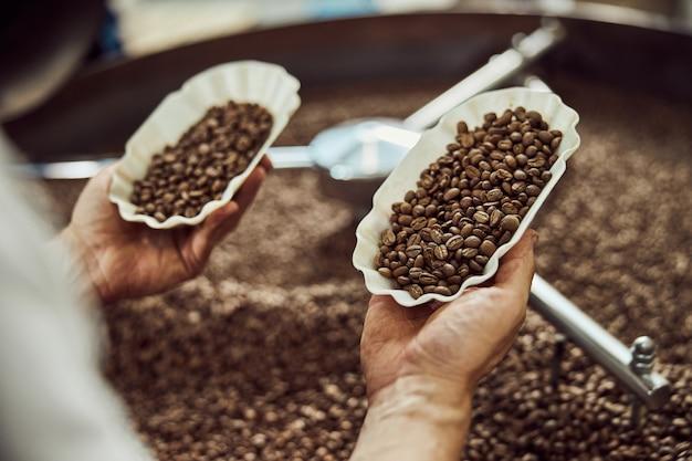茶色のアラビカコーヒー豆の2つのボウルを保持している若い男の手のクローズアップ